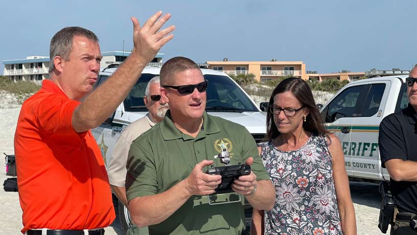 St Johns County Sheriff Drones delivering lifejacket - Steel City Drones Flight Academy